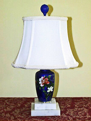 Beautiful JAPANESE COBALT BLUE CLOISONNE VASE LAMP w/ Lined Shantung Shade