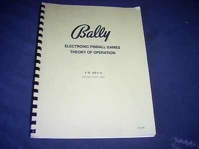 BALLY Electronic Pinball Games Theory of Operation FO 601-2 1982 20 pgs VG