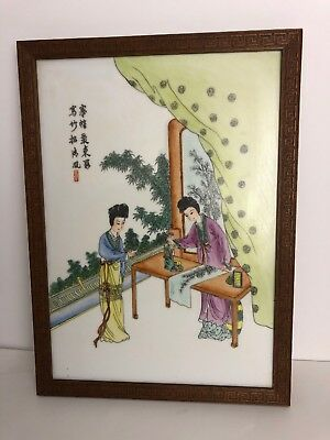 Chinese Fine painting porcelain plaque 19/20th Century Antique Signed Large 👀