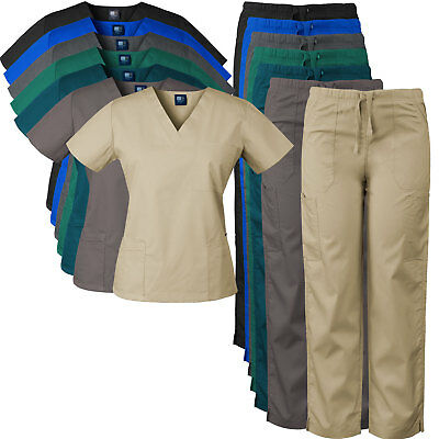 MedGear Women's Scrubs Set, Eversoft Fabric, Multi-pocket Top and Pants 7891