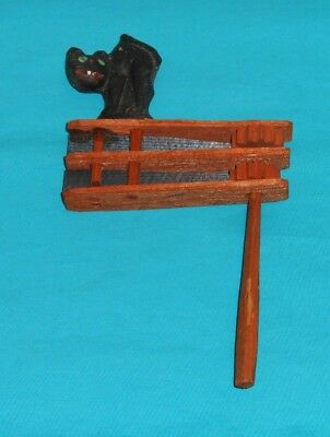 vintage Halloween WOODEN NOISEMAKER with black cat made in Germany wood