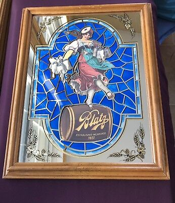 """Vintage Blatz Beer Mirror sign - The Valerie Girl - 18"""" x 14"""" Stained Glass Look"""
