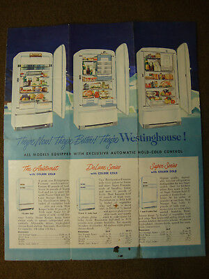 Westinghouse Refrigerator Brochure & Small Foldout Poster - 1949