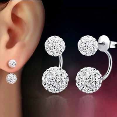 e84f74ea9 1 Pair Women Girl Silver Round Double Ball Pave Beads Crystal Stud Earrings