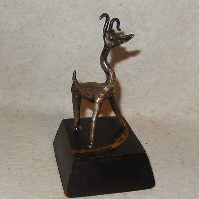 Vintage Mcm Whimsical Brutalist Abstractas Bronce Animal Perro Escultura Firmado
