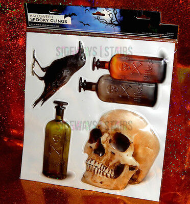 HALLOWEEN PUFFY WINDOW CLINGS skull poison bottle crow raven spooky puff decals