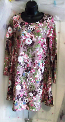 Dolls Of Paris Multi Floral Dolly Day Dress A Line 8-10 Retro Vintage Styling