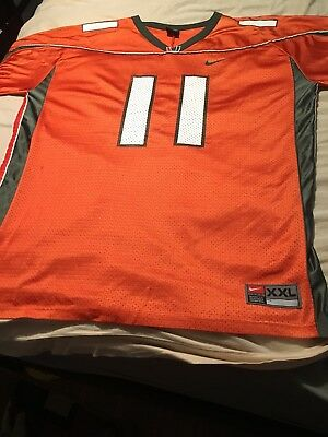 1ff6fcb4b NIKE NCAA University of Miami Hurricanes Football Orange  11 Men s Jersey  Sz XXL