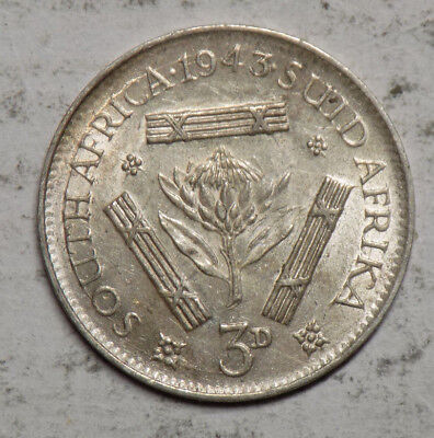 South Africa 1943 3 Pence Silver Coin