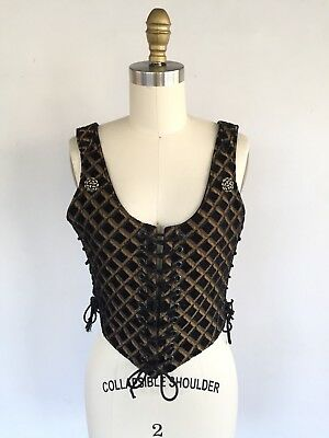 RENAISSANCE LACE COSTUME MEDIEVAL PIRATE WENCH BODICE Brocade Corset Steampunk