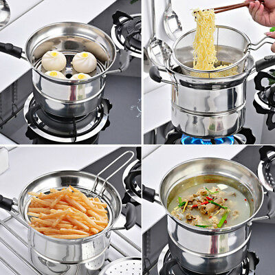 Universal 22cm Stainless Steel Frying Pan Filter Net Steaming Tablet Pot Lid Set
