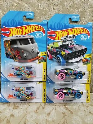 2018 Hot Wheels HW ART CARS VOLKSWAGEN KOOL KOMBI & '69 CAMARO Z28 Lot of 4