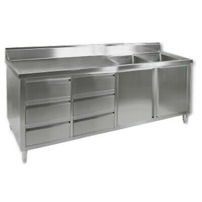 Commercial Stainless Steel Bench Cabinet 2 Right Sinks Food Prep Dds-7-2400-2R