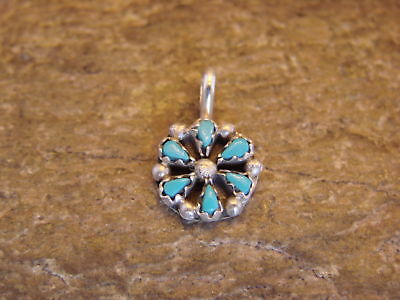 Zuni Indian Jewelry Sterling Silver Turquoise Pendant by Tricia Leekity