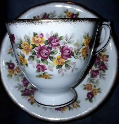 Royal Grafton Red & Yellow Roses Fine Bone China Cup & Saucer Excellent