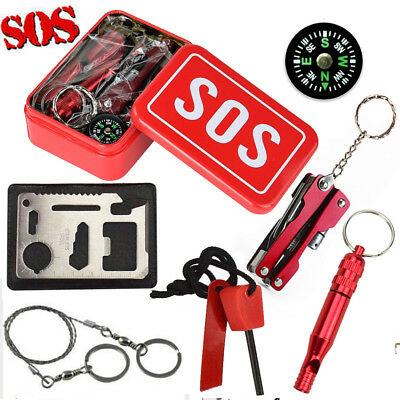 7PCS SOS Emergency Outdoor Camping Hiking Hunting Survival Gear Scouts Kit Tools