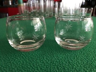 Set of 2 Vintage Mid Century Atomic Starburst Etched Rocks Cocktail Glasses