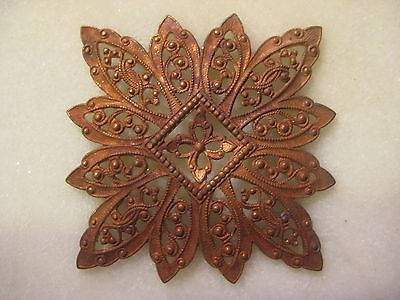 Antique French Filigree, 1920s Ornate Dapt Flower, Snowflake, Die Struck Brass