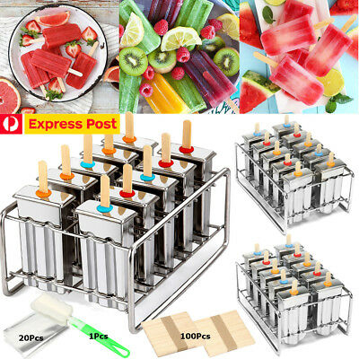 10 Molds Stainless Steel Ice Cream Pop Mould Lolly Popsicle +100Pcs Stick Holder
