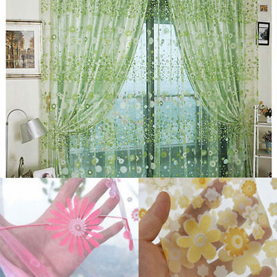 Rustic Floral Print Voile Curtain Living Room Balcony Tulle Yarn Decor Durable