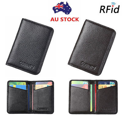Men's RFID Blocking Genuine Leather Money Clip Slim Wallet Credit Card Holder
