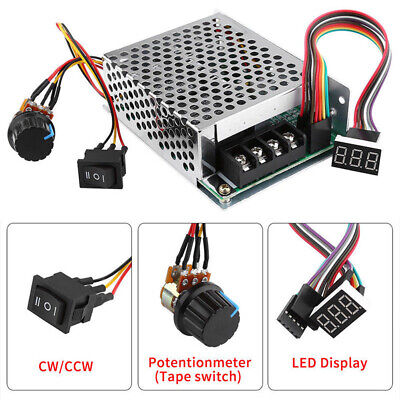 DC10-55V 12V 24V 36V 60A PWM Motor Speed Controller CW CCW Reversible Switch Set