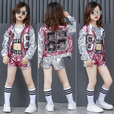 Street Dance Wear Costume Girls Performance Sequins Modern Kids Hip Hop Clothes