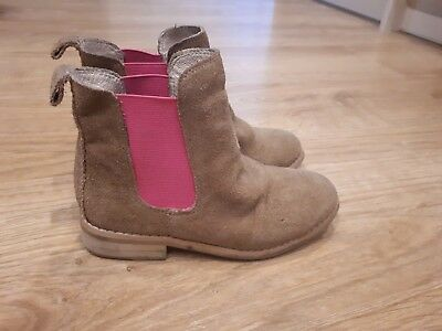 JOULES Girls CHELSEA BOOTS  suede Tan / Pink size 11