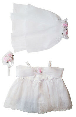 "Bride Outfit Teddy Bear Clothes Fits Most 14""-18"" Build-A-Bear and More"