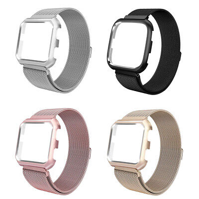 Magnetic Milanese Loop Band Strap Bumper Case for Fitbit Versa Stainless Steel