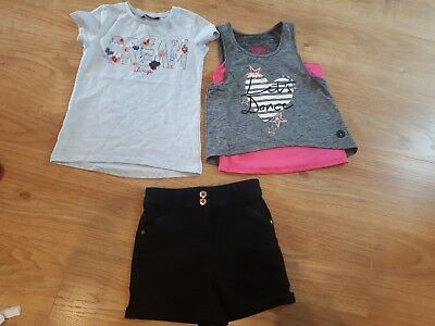 GIRLS DANCE butterfly TOP PINK TU GYM FITNESS high waisted shorts 5-6