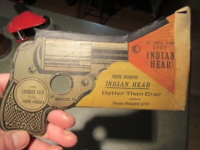 Pre-prohibition Iroquois Indian Head Beer 1914  WWI  Liberty Gun Buffalo NY Uncl