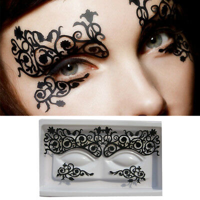 Retro Black Lace Veil Eyes Paste Cover Sexy Face Half Mask Sticker Party Cosplay
