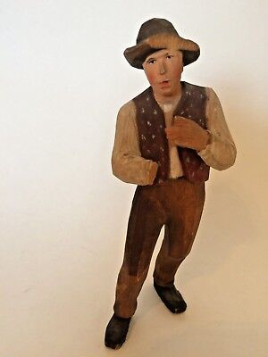Vintage German Black Forest wooden Figure of a man - Farmer - 15cm - TLC - L7