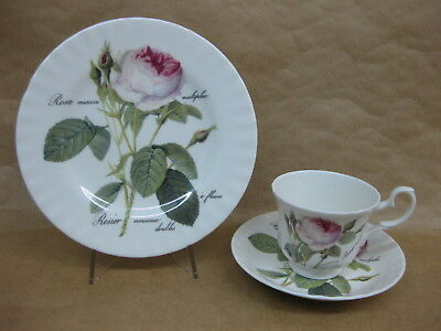 Roy Kirkham Redoute Roses Cup, Saucer & Plate ~ English China Trio ~ Pink Roses