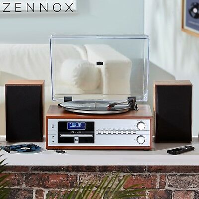 Zennox Hi-Fi Music System DAB/FM Radio CD Stereo Record Player USB Speakers NEW