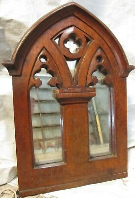 Victorian Gothic carved oak framed wall hanging decorative mirror (ref 604)