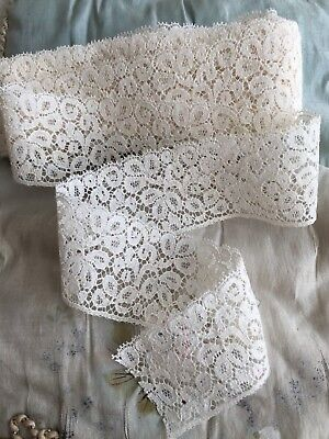 6Mtrs ANTIQUE FRENCH RIBBON WEDDING POINT LACE WORK DENTELLE CALAIS TRIM EDGING