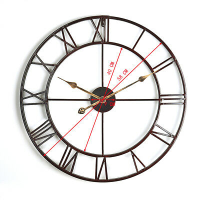 Small Large Round Metal Skeleton Roman Numeral Indoor/Garden Outdoor Wall Clock