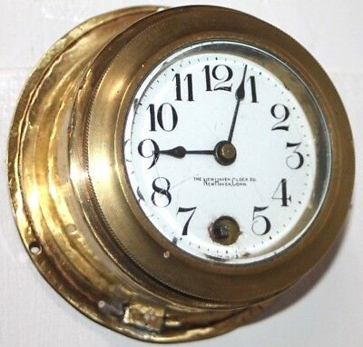Antique New Haven 8 Day Marine Ship's Wall Clock W/ Porcelain Dial. *excellent*