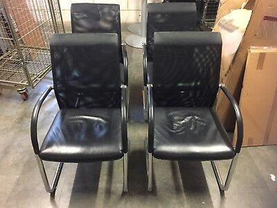 4 X Office Conference Meeting Chair Leather Mesh Job Lot