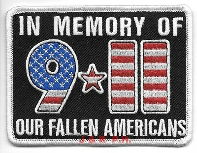 """9-11-01 In Memory of our Fallen Americans (4"""" x 3"""" size)  fire patch"""