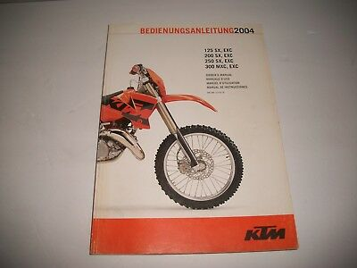 2004 Ktm Motorcycle Original Owners Service Manual 125 Sx 300Sx 250 Sx 300 Mxc