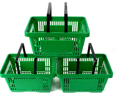 Pack of 20 x 2 Handle Green Plastic Shopping Basket Retail Supermarket Use