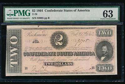 AC T-70 $2 1864 Confederate Currency CSA PMG 63 uncirculated!