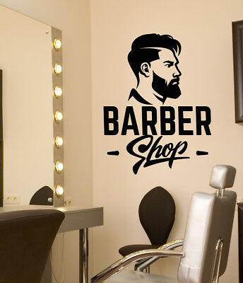 Vinyl Wall Decal Barbershop Logo Signboard Men's Haircut Stickers (3224ig)