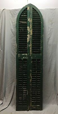 Antique Pair Arched Gothic Top Wood Louvered Window Shutters 10X81  Vtg 431-18C