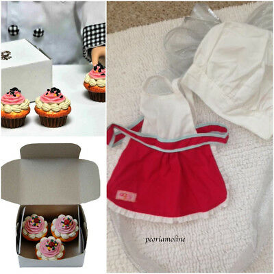 """18"""" Doll BAKING Set~American Girl~Our Generation~APRON~CHEF HAT~3 Cupcakes & Box"""