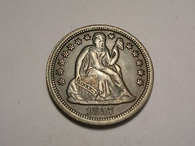 1857 Seated Liberty Dime ( Abt. AU & Attractive)