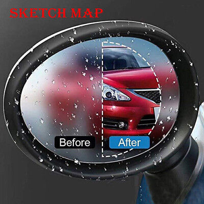 2Pcs Blue Oval Car Anti Fog Rainproof Rearview Mirror Protective Film Anti Water